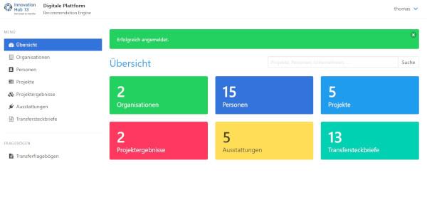 Screenshot digitale Plattform